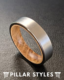 6mm Silver Whisky Barrel Wood Ring Mens Wedding Band