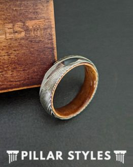 6mm Thin Silver Damascus Steel Ring with Koa Wood Inlay
