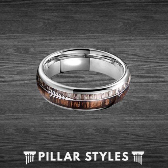 6mm Tungsten Zebra Wood with Arrow Inlay Deer Antler Ring