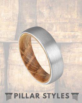 6mm Whiskey Barrel Silver Tungsten Wedding Band