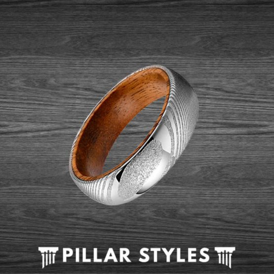 6mm Wood and Damascus Ring Mens Wedding Band Koa Wood Ring