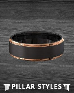 6mm/8mm 18K Rose Gold Ring Mens Wedding Band Tungsten Ring