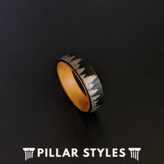 6mm/8mm Nature Ring Black Mens Wedding Band Forest Trees Mens Ring