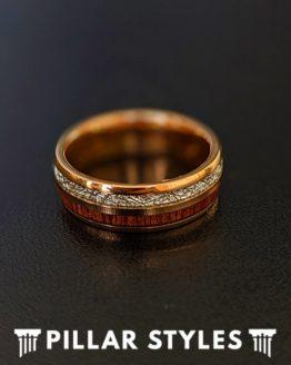 6mm/8mm Rose Gold Meteorite Ring with Koa Wood Tungsten Wedding Band
