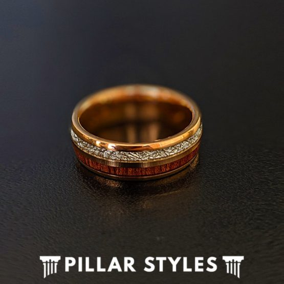 6mm/8mm Rose Gold Meteorite Ring with Koa Wood Tungsten Wedding Band