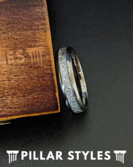 6mm/8mm Tungsten Meteorite Ring Mens Wedding Band