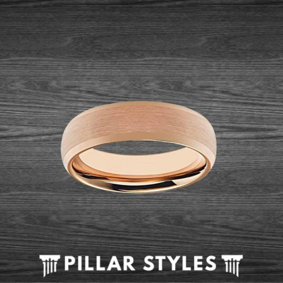 6mmThin Rose Gold Ring Tungsten Mens Wedding Band