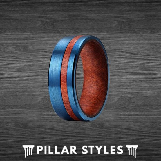 7mm Curly Koa Wood Ring Mens Wedding Band - Blue Tungsten Ring