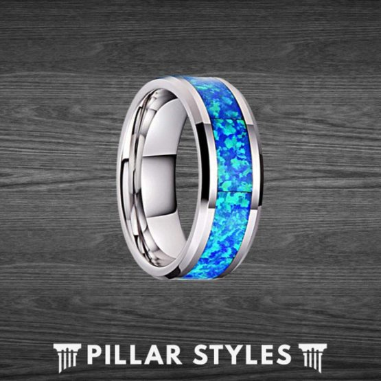 8mm & 6mm Blue Opal Ring Tungsten Wedding Band Couples Ring Set