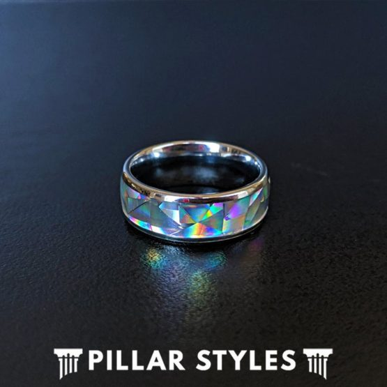 8mm & 6mm White Opal Ring Tungsten Wedding Band Mens Ring