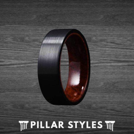 8mm Black Tungsten Wedding Band with Koa Wood Sleeve