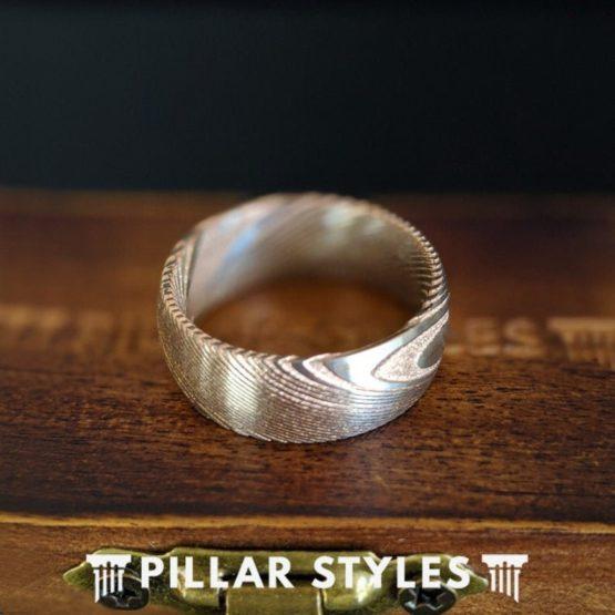 8mm Damascus Steel Ring Mens Wedding Band Rose Gold Damascus Ring