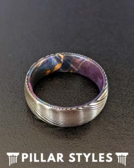 8mm Damascus Steel Ring with Box Elder Wood Inlay