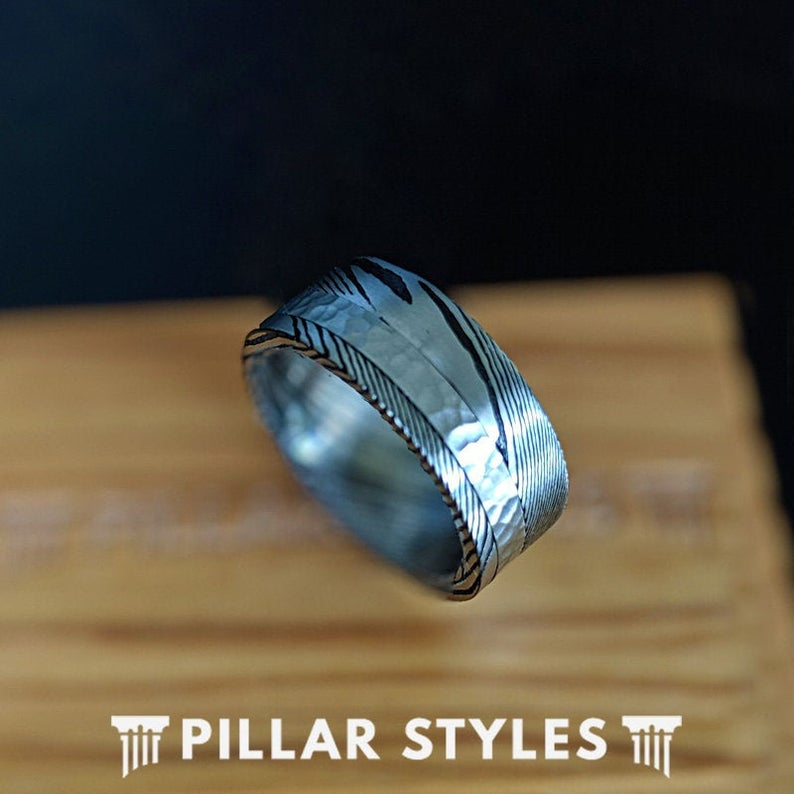 Damascus Steel Ring with Hammered Inlay