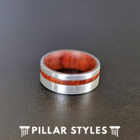 8mm Koa Wood Ring with Offset Inlay Silver Tungsten Ring