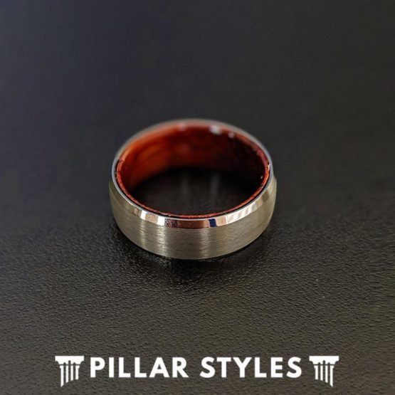 8mm Silver Tungsten Ring Rose Wood Mens Wedding Band with Beveled Edges