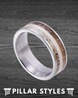 8mm Tungsten Exotic Two Tone Whitetail Antler Ring Hunting Ring Gift