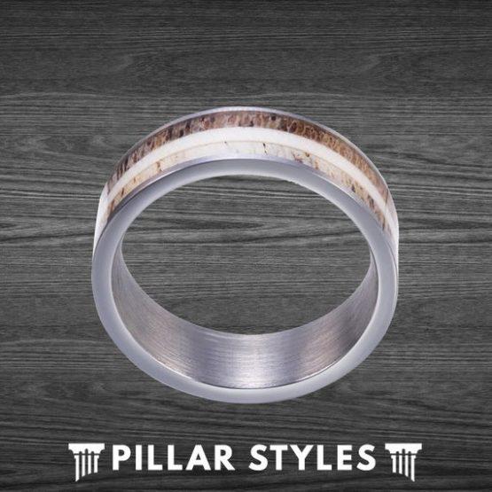 8mm Tungsten Exotic Two Tone Whitetail Antler Ring Hunting Ring Gift