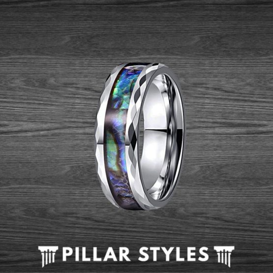 8mm Tungsten Faceted Abalone Shell Ring Mens Wedding Band