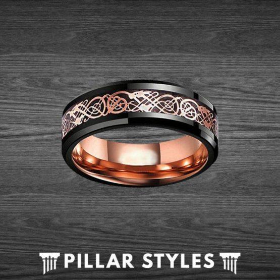 8mm Viking Ring Tungsten Wedding Band Rose Gold Ring