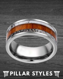 8mm Whitetail Antler with Koa Wood Inlay Tungsten Ring