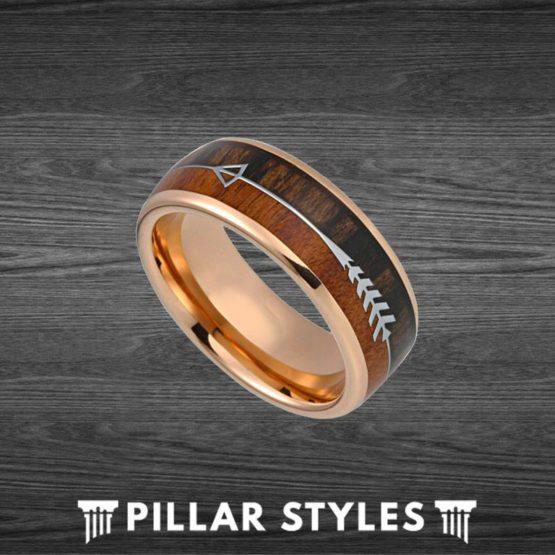 8mm/6mm Koa Wood Ring Mens Wedding Band Rose Gold Tungsten Ring