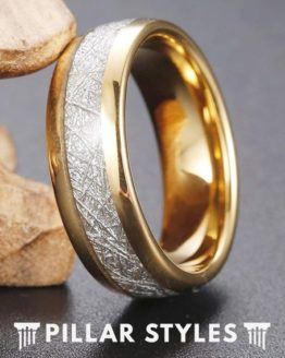 Gold Meteorite Mens Tungsten Wedding Band