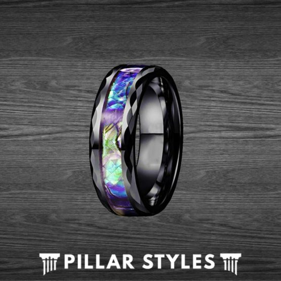 Abalone Hammered Ring Black Tungsten Wedding Band