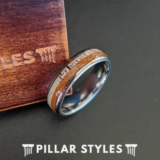 Antler & Whiskey Barrel Ring Mens Wedding Band Nature Ring 6mm Unique Wood Ring