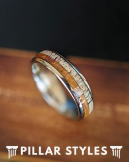 Antler & Whiskey Barrel Ring Mens Wedding Band Nature Ring 6mm Unique Wood Ring