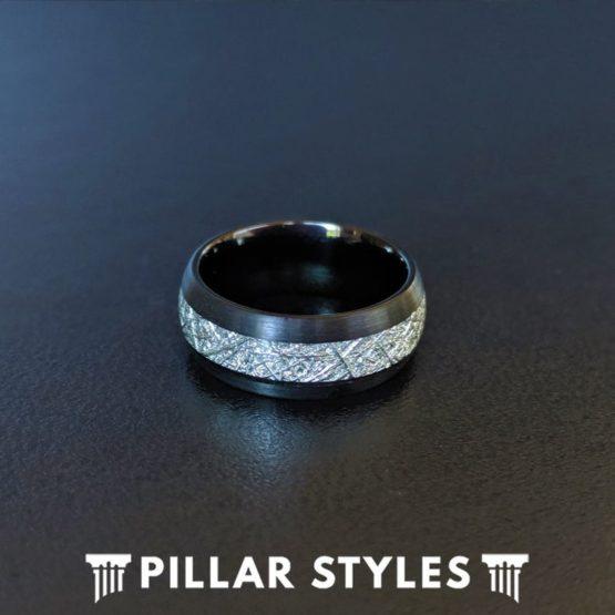 Black Meteorite Ring Mens Tungsten Wedding Band