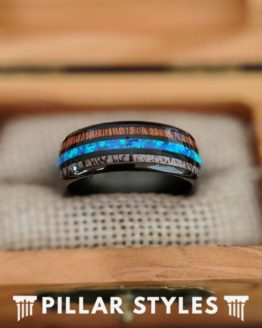 Black Opal Ring Tungsten Wedding Band Mens Ring, 8mm Antler & Koa Wood Ring