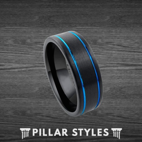 Black Tungsten Ring Mens Wedding Band with Blue Grooves