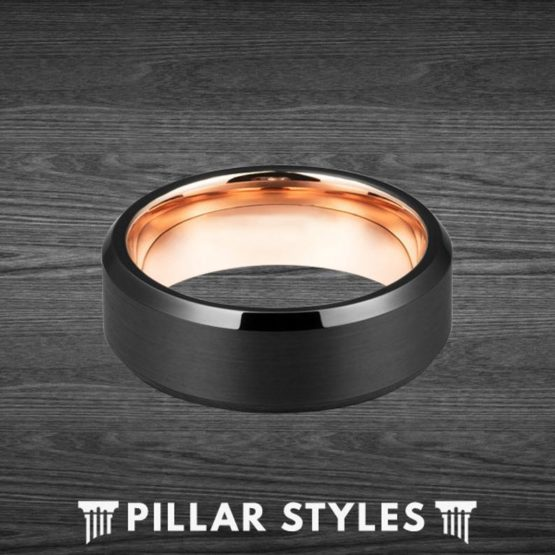 Black Tungsten Ring with 18K Rose Gold Inner Sleeve