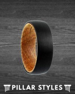 Black Tungsten Wedding Band with Whiskey Barrel Oak Wood Inlay