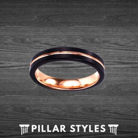 Black Tungsten Wedding Bands Womens Ring 4mm Rose Gold Ring