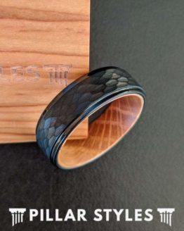 Black Whiskey Barrel Ring Mens Wedding Band Hammered Ring with Step Edges Tungsten Ring