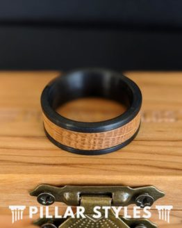 Black Whiskey Barrel Ring Mens Wedding Band Tungsten Ring 8mm Bourbon Barrel Ring