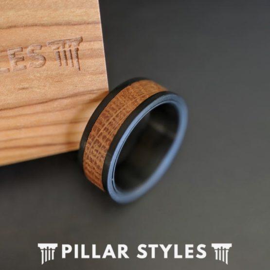 Black Whiskey Barrel Ring Mens Wedding Band Tungsten Ring 8mm Bourbon Barrel Ring