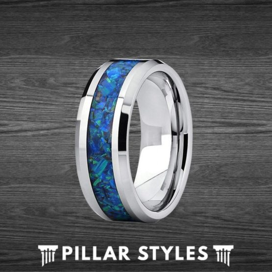 Blue Fire Opal Ring Tungsten Wedding Band - 8mm Green Opal Ring for Men