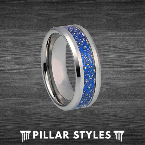 Blue Mens Viking Ring Tungsten Wedding Band Blue Ring