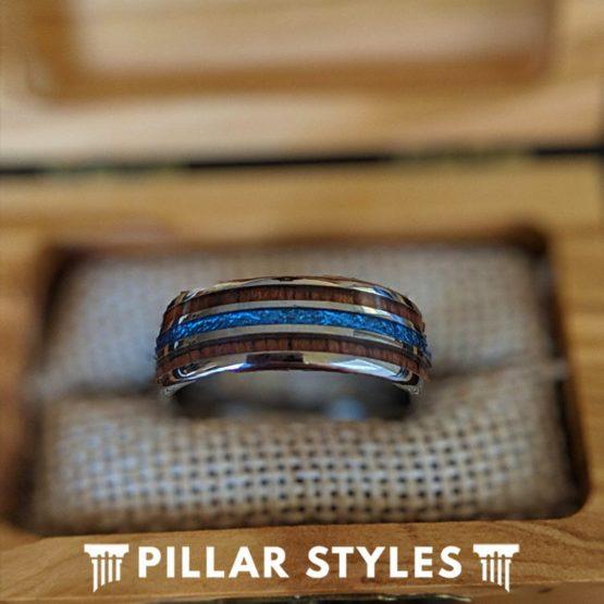 Blue Meteorite Mens Wedding Band Hawaiian Koa Wood Ring