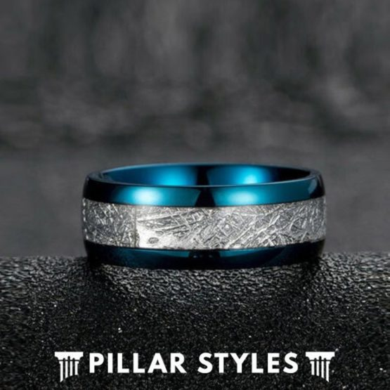 Blue Meteorite Ring Tungsten Wedding Band Mens Ring