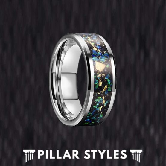 Blue Opal Ring Tungsten Wedding Band Mens Ring - Crushed Green Opal Ring