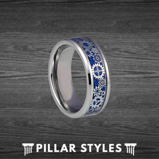 Blue Steampunk Ring Mens Wedding Band Cogs Mechanical Ring