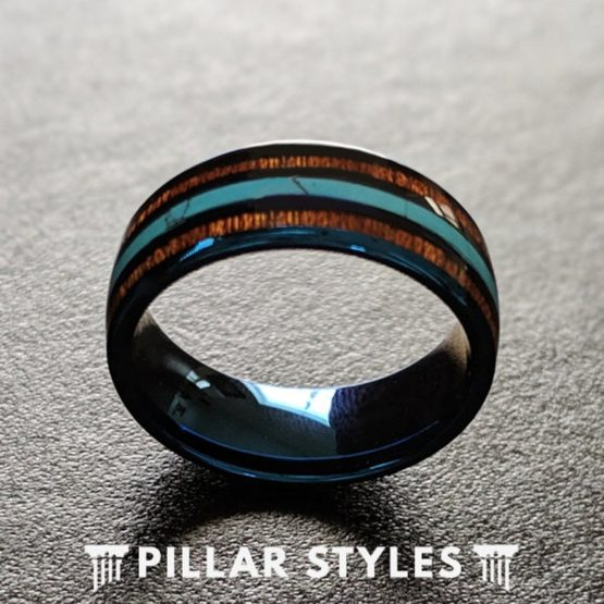 Blue Tungsten Wedding Band with Turquoise & Koa Wood Ring