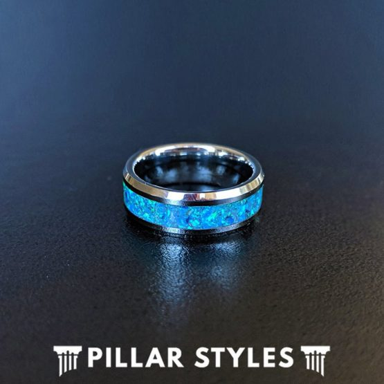 Crushed Green & Blue Opal Ring Mens Wedding Band