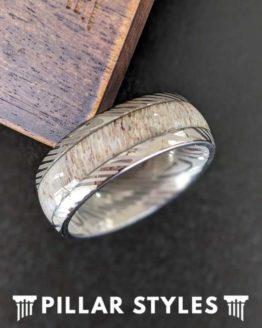 Damascus Ring 8mm Deer Antler Ring Titanium Wedding Band Mens Ring