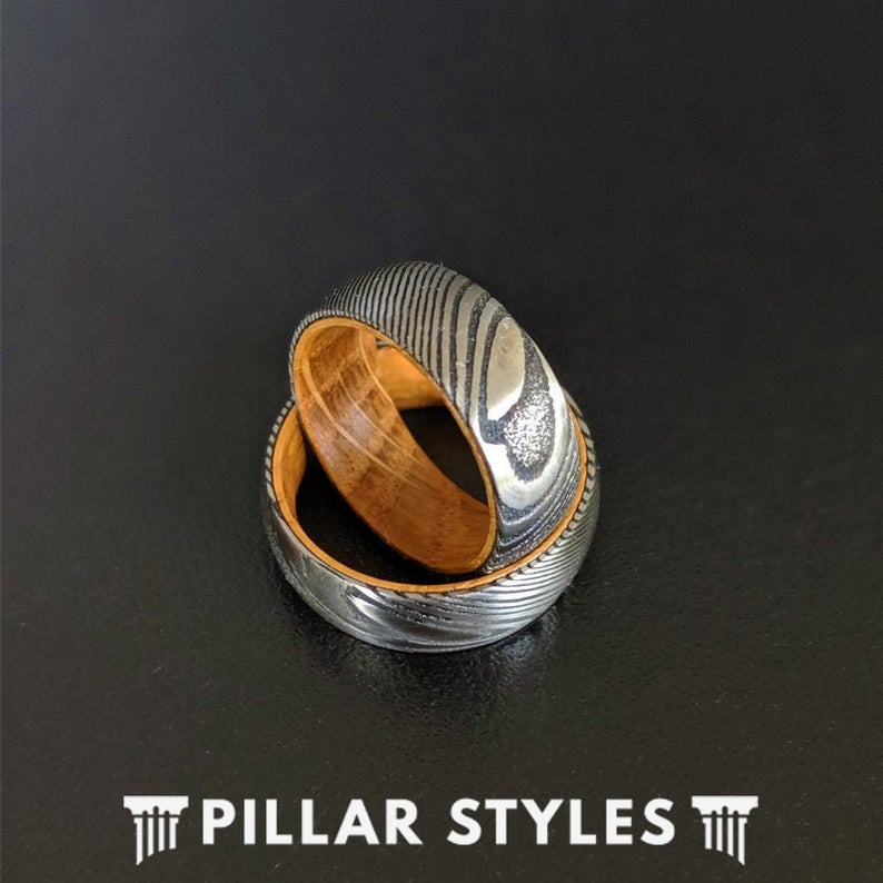 Damascus Ring with Whiskey Barrel Wood Inlay