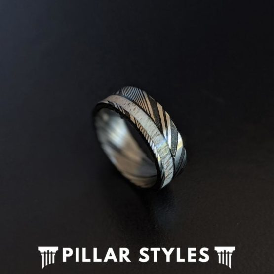 Damascus Steel Ring Deer Antler Ring Mens Wedding Band Damascus Ring
